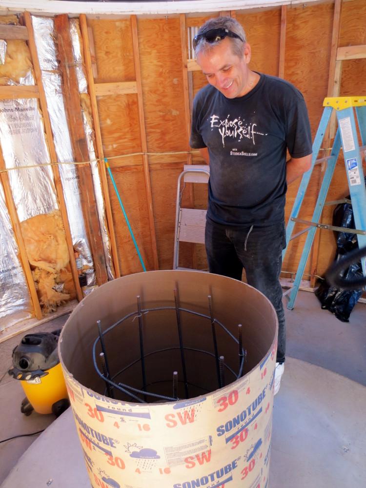 Preparing to pour concrete for the new telescope.